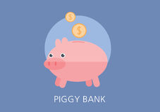 Piggy bank concept flat icon Royalty Free Stock Photo