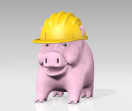 Piggy bank with construction helmet Royalty Free Stock Images