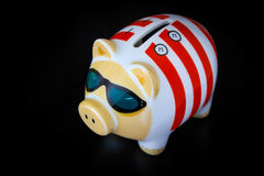 Piggy Bank with cool sunglasses Stock Photography