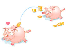 Piggy Bank Couples and falling Money Royalty Free Stock Photos