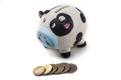 Piggy Bank Is A Cow. Piggy bank isolated on white background with shadow Royalty Free Stock Photo