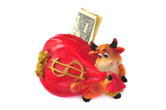 Piggy Bank cow with the one dollar Royalty Free Stock Photo