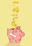 Piggy bank with crack and dollars, vector illustration, cartoon style Royalty Free Stock Image