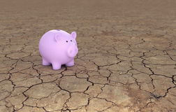 Piggy Bank with Cracked Land Royalty Free Stock Images