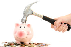 Piggy bank crashed or braked by hammer on money pile suggesting financial crisis Stock Photos