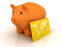Piggy bank and credit card Stock Photos
