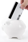 Piggy Bank and Credit Card Stock Photography
