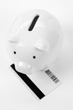 Piggy Bank and Credit Card Stock Photo
