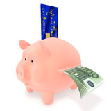 Piggy Bank and credit card EU. Piggy Bank with credit card and bills euro Stock Photography