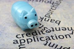Piggy bank and credit concept Royalty Free Stock Photos