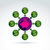 Piggy bank credit and deposit money theme symbol, vector concept Royalty Free Stock Photos