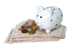 Piggy bank and Croatian money isolated Royalty Free Stock Photography