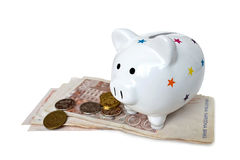 Piggy bank and Croatian money isolated Royalty Free Stock Images