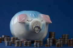 Piggy Bank and Currency Stock Photos