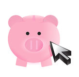 Piggy bank and cursor Royalty Free Stock Photos