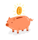Piggy bank. Cute piggy bank with shiny coin vector illustration Stock Photo