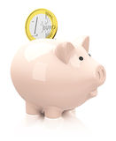 The piggy bank. 3d generated picture of a piggy bank with euro coin Royalty Free Stock Photos