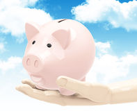 The piggy bank. 3d generated picture of a piggy bank on a hand vector illustration