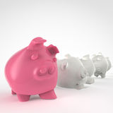 Piggy bank 3d standing and another fall Stock Photography