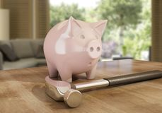 Piggy bank in danger. A piggy bank in danger with a hammer, 3d rendering Stock Images