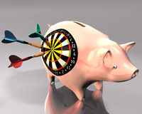 Piggy Bank and dart target. 3d Illustration of piggy bank hit by three colored darts on white background royalty free illustration
