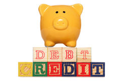Piggy bank with debt and credit text Stock Image