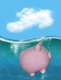Piggy Bank Debt Money Bankrupt. Saving money is hard to do and keeping it in a savings account is even harder. A piggy bank is drowning in debt and is bankrupt Royalty Free Stock Photo
