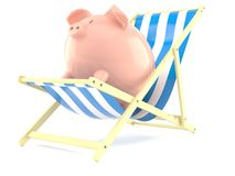 Piggy bank with deck chair. Isolated on white background Stock Images