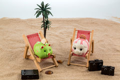 Piggy bank in a deck chair Royalty Free Stock Photos
