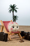 Piggy bank in a deck chair Royalty Free Stock Photography