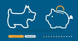Piggy Bank 2019 and dog icon. Fully scalable vector icon in outline style. stock illustration