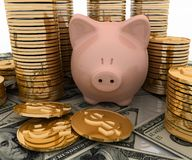 Piggy Bank and Dolla Stock Image