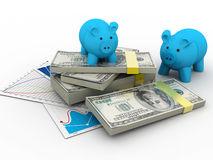 Piggy bank with dollar Royalty Free Stock Images