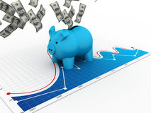 Piggy Bank with dollar Royalty Free Stock Image