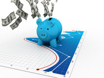Piggy Bank with dollar Stock Photography