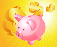 Piggy bank and dollar Royalty Free Stock Image