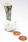 Piggy Bank and Dollar Bill. A dollar bill inserted in a small white ceramic piggy bank, with two pennies in front of it royalty free stock photography