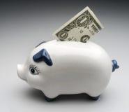Piggy bank. With dollar bill box Royalty Free Stock Photos
