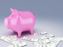 Piggy Bank with dollar bills. Image of  Piggy Bank with dollar bills 3d illustration Stock Photography