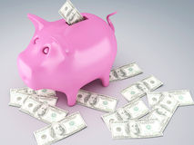 Piggy Bank with dollar bills. Image of  Piggy Bank with dollar bills 3d illustration Stock Photo