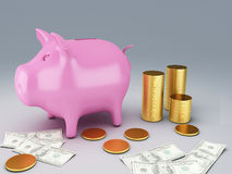 Piggy Bank with dollar bills. Image of  Piggy Bank with dollar bills and gold coins 3d illustration Stock Photography