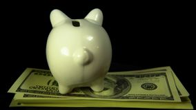 Piggy bank and dollar bills turn on a black background stock footage