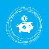 Piggy bank and dollar coin icon on a blue background with abstract circles around and place for your text. Illustration Royalty Free Stock Image