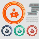 Piggy bank and dollar coin icon on the red, blue, green, orange buttons for your website and design with space text. Illustration Stock Photo