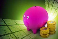 Piggy bank with dollar coins. In color background Royalty Free Stock Photos