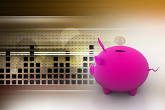 Piggy bank with dollar coins Stock Images