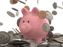 Piggy bank and dollar coins falling Stock Photography