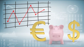 Piggy bank with dollar and euro symbol. Graphs and texts as backdrop Royalty Free Stock Images