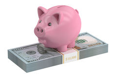 Piggy bank and dollar pack, 3D rendering. On white background Royalty Free Stock Images