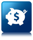 Piggy bank dollar sign icon blue square button Stock Images